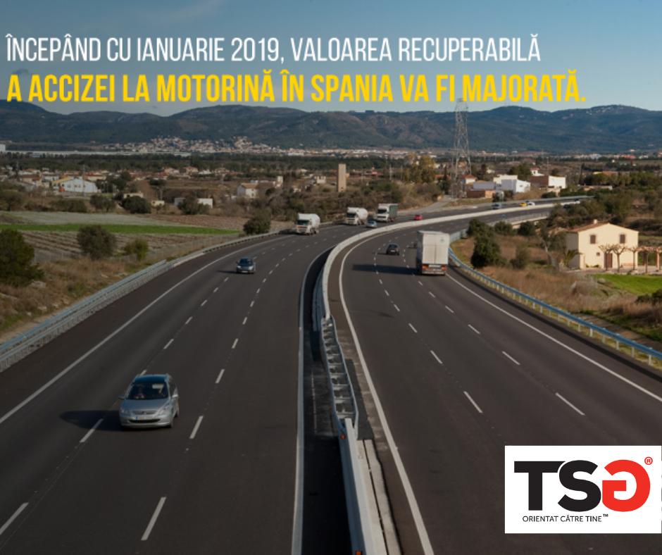 2018.12 Recuperarea accizei la motorina in Spania – majorarea valorii recuperabile